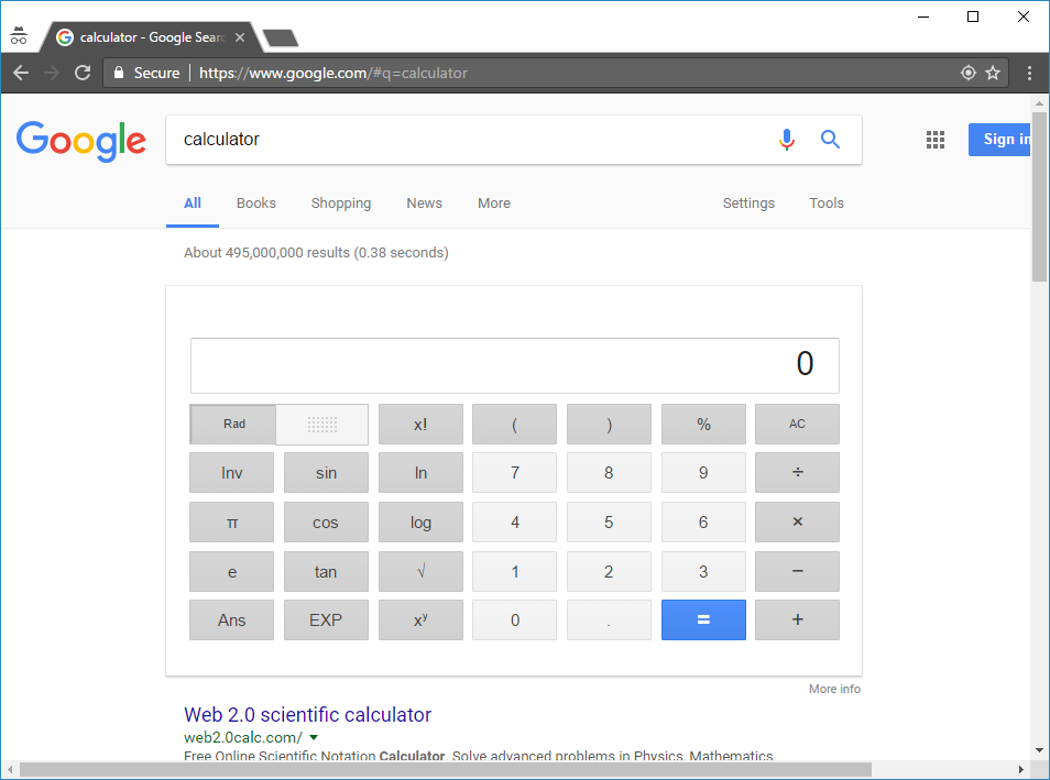 "Search ""calculator"""