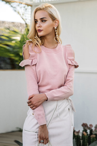 Ruffled Cold Shoulder Sweater