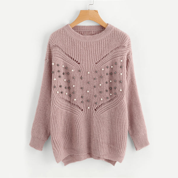 Loose Pullover Sweater with Pearls