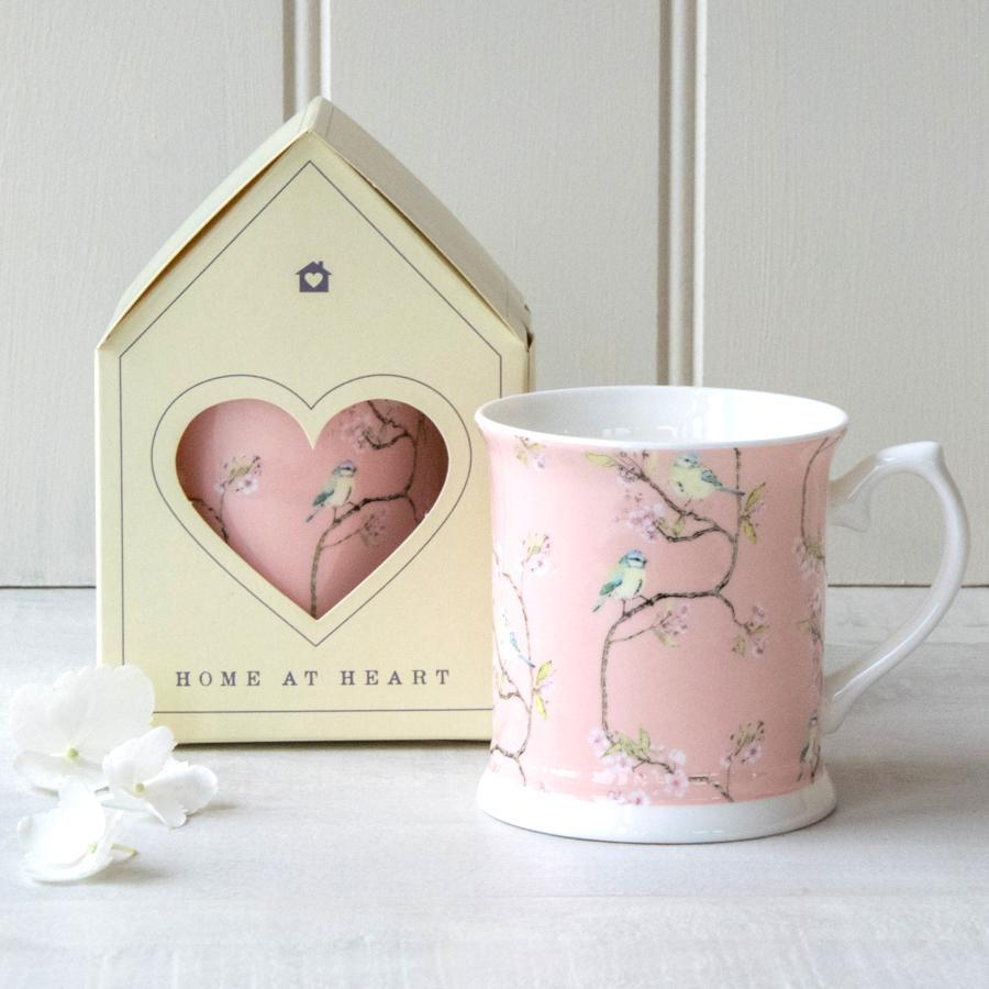 BLUE TIT ON BLOSSOM - MUG (BLUSH)