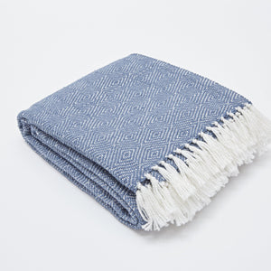 NAVY/WHITE DIAMOND BLANKET
