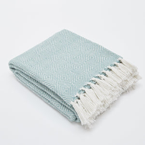 TEAL/WHITE DIAMOND BLANKET