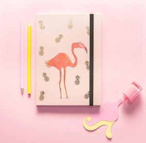 Accessorise your desk with the latest print design from Fenella Smith. Featuring Flamingo's and pineapples what's not to love about this quirky design?  Perfect for creative types, this notebook will look the part whilst you jot all of your ideas down in one go and equally is the perfect gift for yourself or someone else.