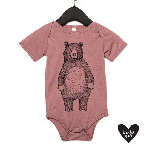 MR BEAR - BABY GROW - MAUVE