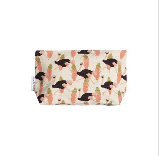DESIGNER OSTRICH MAKE UP BAG - SMALL