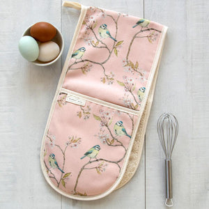 BLUE TIT ON BLOSSOM - DOUBLE OVEN GLOVES (PINK)