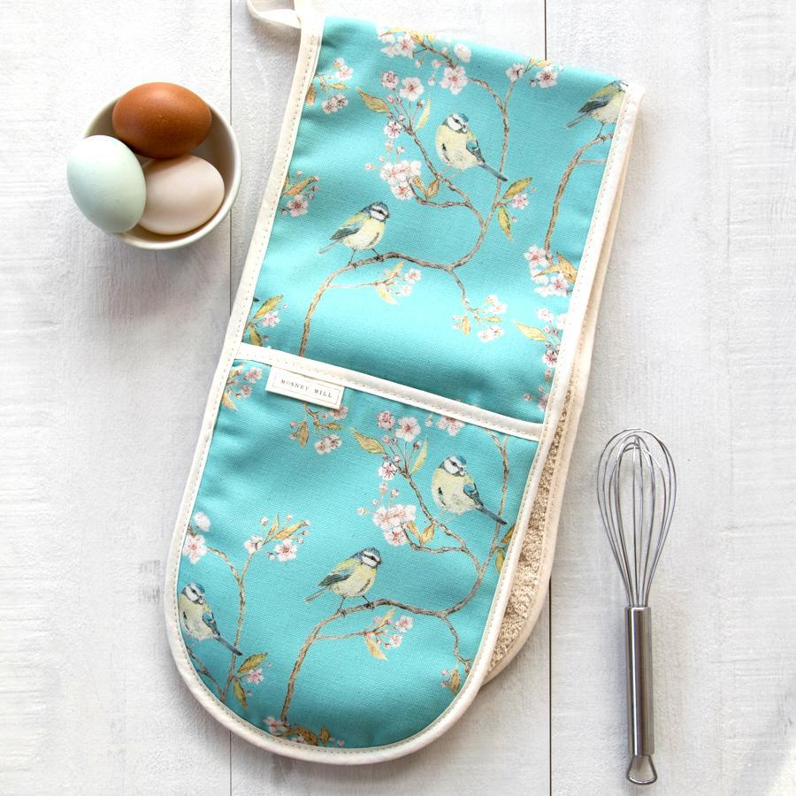 BLUE TIT ON BLOSSOM - DOUBLE OVEN GLOVES (TURQUOISE)