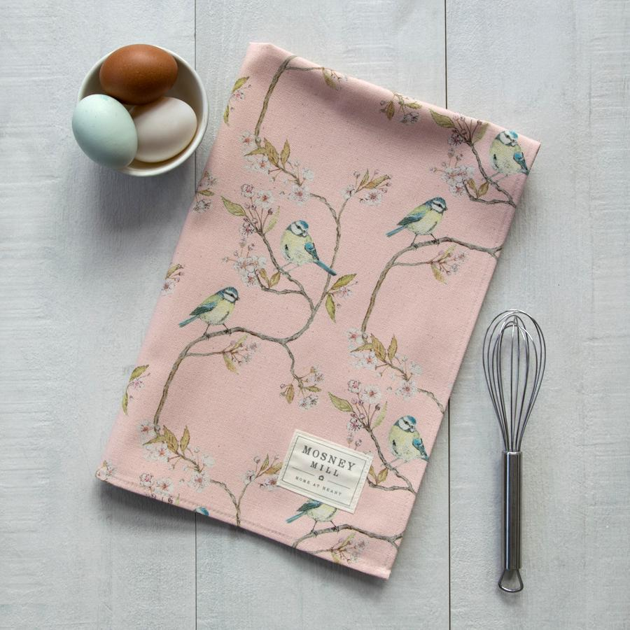 BLUE TIT ON BLOSSOM - TEA TOWEL (PINK)