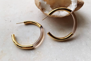 GOLD GLASS THICK HOOP EARRINGS