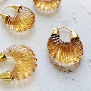 ETTIENNE CHAMPAGNE RIDGED EARRINGS