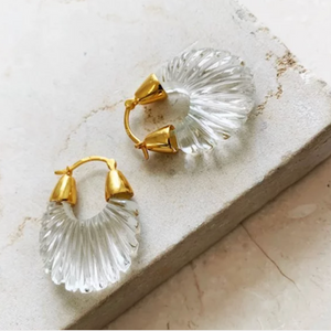 ETTIENNE CRYSTAL CLEAR RIDGED EARRINGS