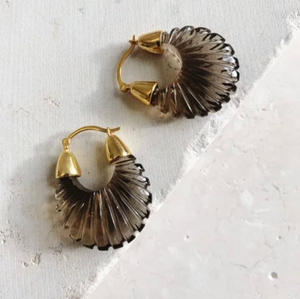 ETTIENNE SMOKY RIDGED EARRINGS