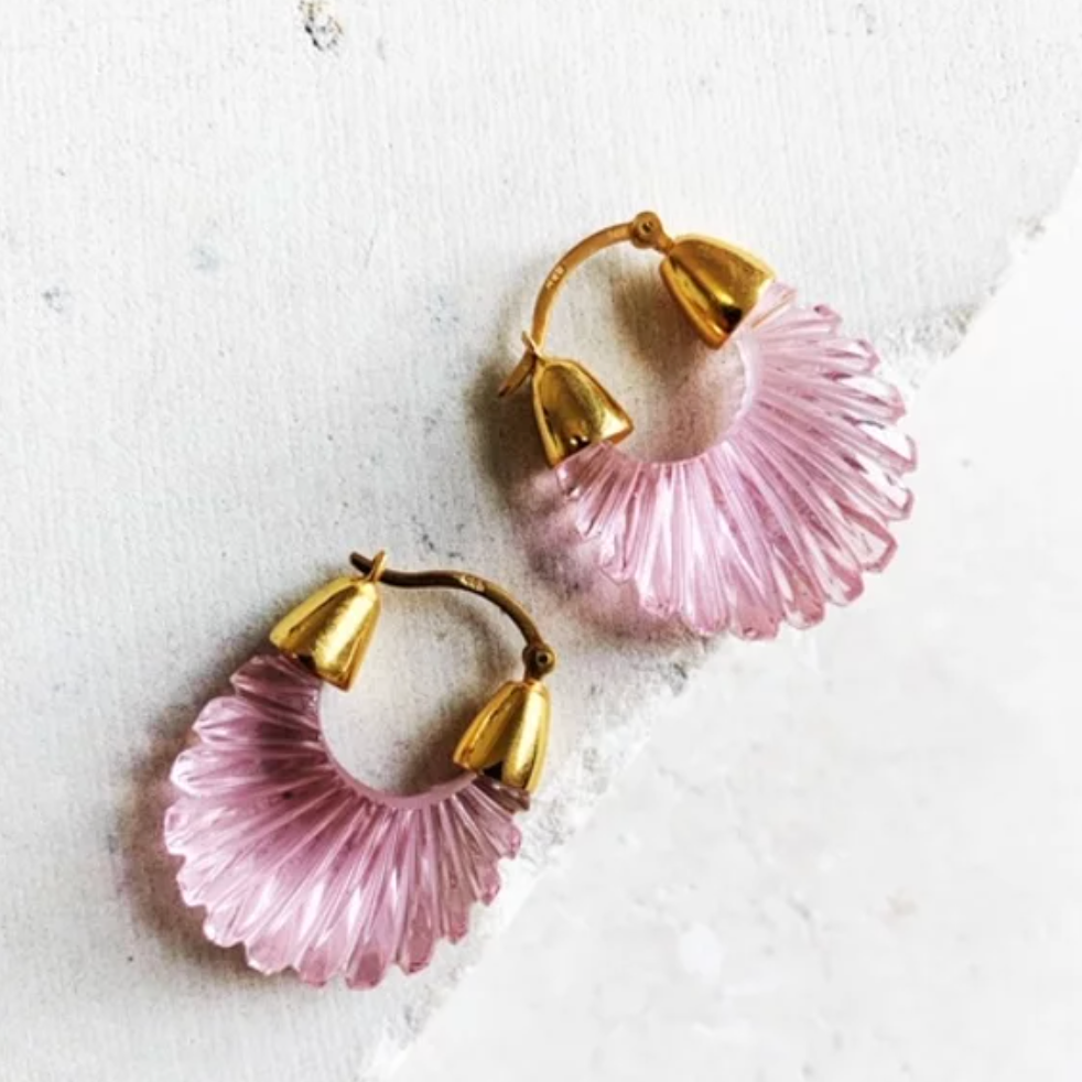 ETTIENNE SOFT PINK RIDGED EARRINGS