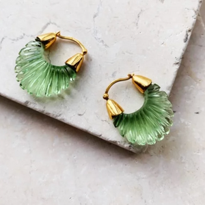 ETTIENNE GREEN RIDGED EARRINGS
