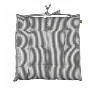 ABBEY STRIPE SEAT PAD/CUSHION - CHARCOAL - SET OF 2