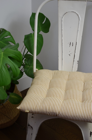 ABBEY STRIPE SEAT PAD/CUSHION - MUSTARD