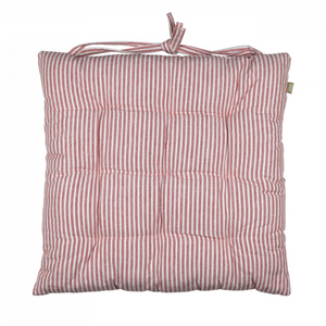 ABBEY STRIPE SEAT PAD/CUSHION - TERRACOTTA - SET OF 2