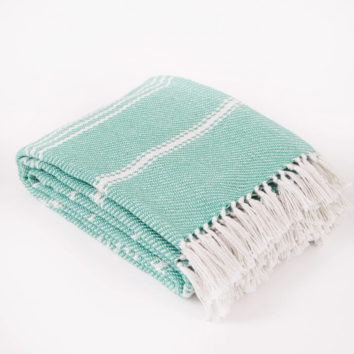 OXFORD STRIPE AQUA BLANKET