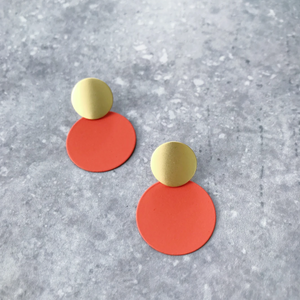 MATTE DISC EARRINGS - RUST & GOLD