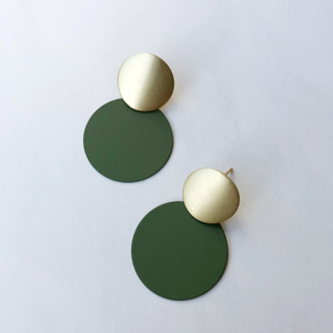 MATTE DISC EARRINGS - OLIVE & GOLD
