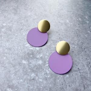 MATTE DISC EARRINGS - LILAC & GOLD
