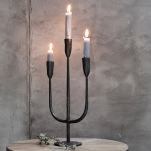 MBATA BRASS CANDELABRA - ANTIQUE BLACK