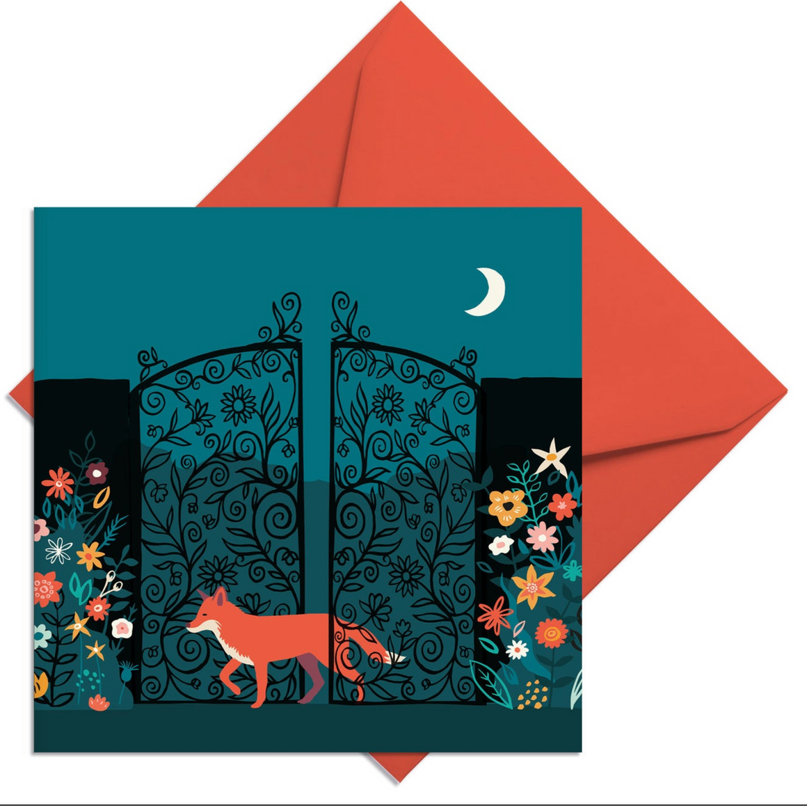MIDNIGHT GARDEN FOX CHRISTMAS CARD