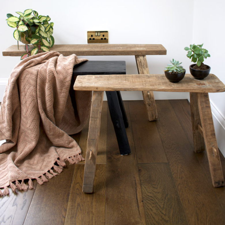 RECYCLED WOOD ANTIQUE BENCH - SMALL