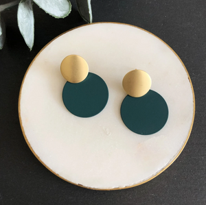 MATTE DISC EARRINGS - DARK TEAL & GOLD