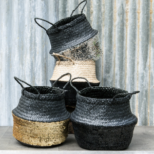 TOULOUSE SEQUIN BASKET - BLACK & GOLD MEDIUM