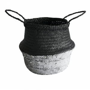 TOULOUSE SEQUIN BASKET - BLACK & SILVER MEDIUM