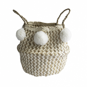 TOULOUSE MONOCHROME BASKET - POM POMS - SMALL WHITE