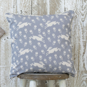 RUNNING HARE PATTERN GREY COTTON CUSHION