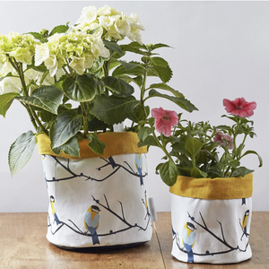 JUNEBERRY BIRD PLANT POT - YELLOW TRIM