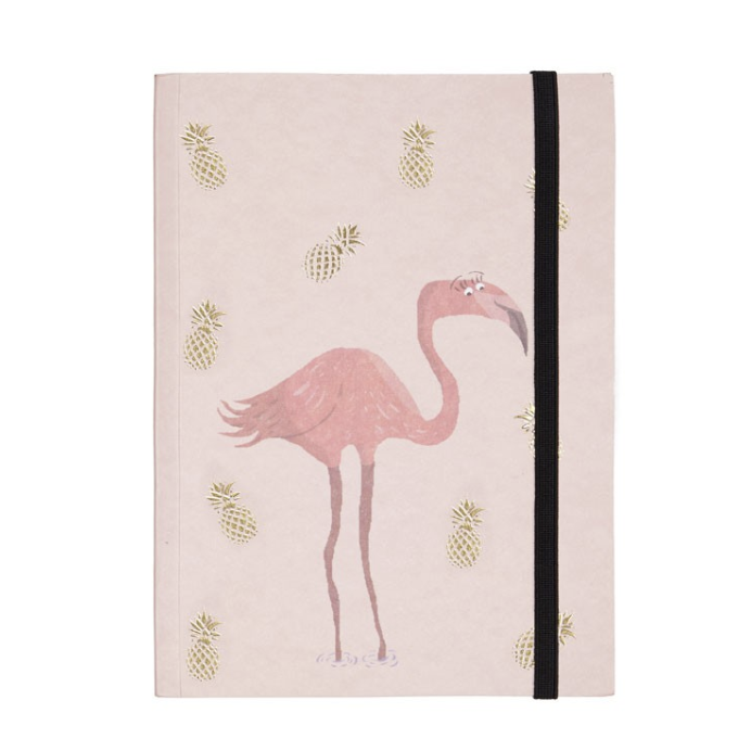 FLAMINGO AND PINEAPPLE NOTEBOOK GOLD