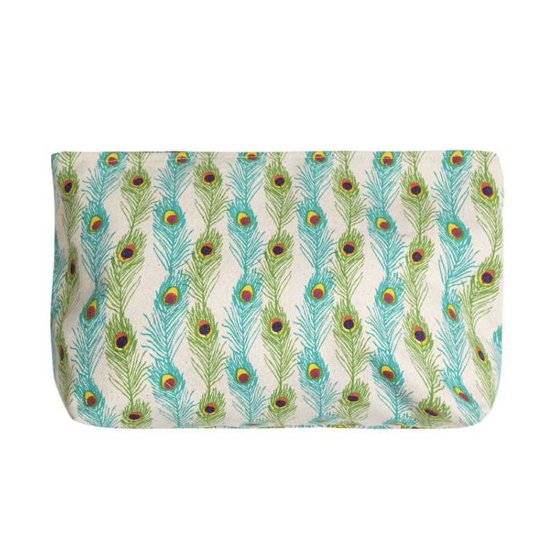 PEACOCK FEATHER MAKE UP BAG (LARGE)