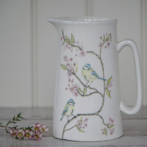 BLUE TIT ON BLOSSOM - BONE CHINA JUG (LARGE)
