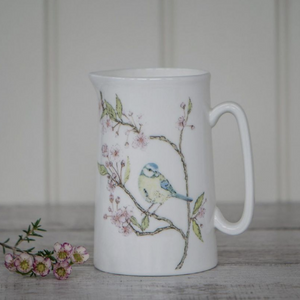 BLUE TIT ON BLOSSOM - BONE CHINA JUG (MEDIUM)