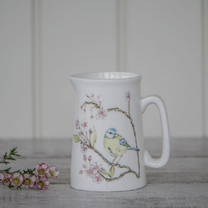 BLUE TIT ON BLOSSOM - BONE CHINA JUG (SMALL)