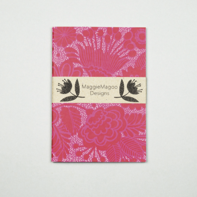 A6 NOTEBOOK RED DAMASK