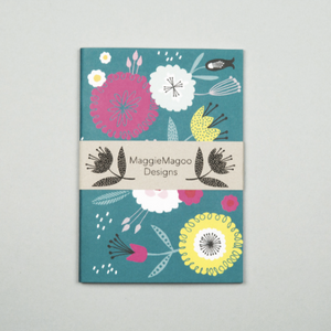 A6 NOTEBOOK TEAL FLORAL