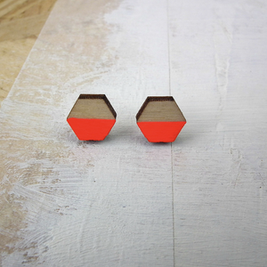 HEXAGON FLORESCENT RED - EARRINGS