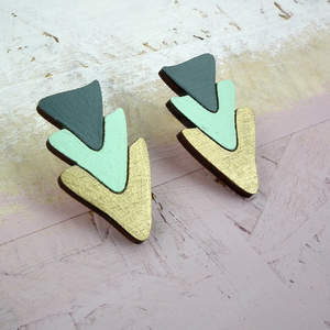 TRIANGLE TRIO (MINT, GOLD & GREY) - EARRINGS