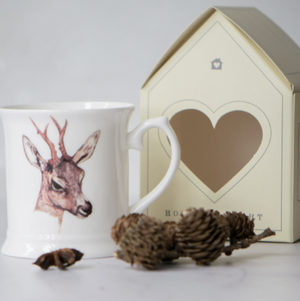 DEER CHINA MUG - SINGLE/WHITE