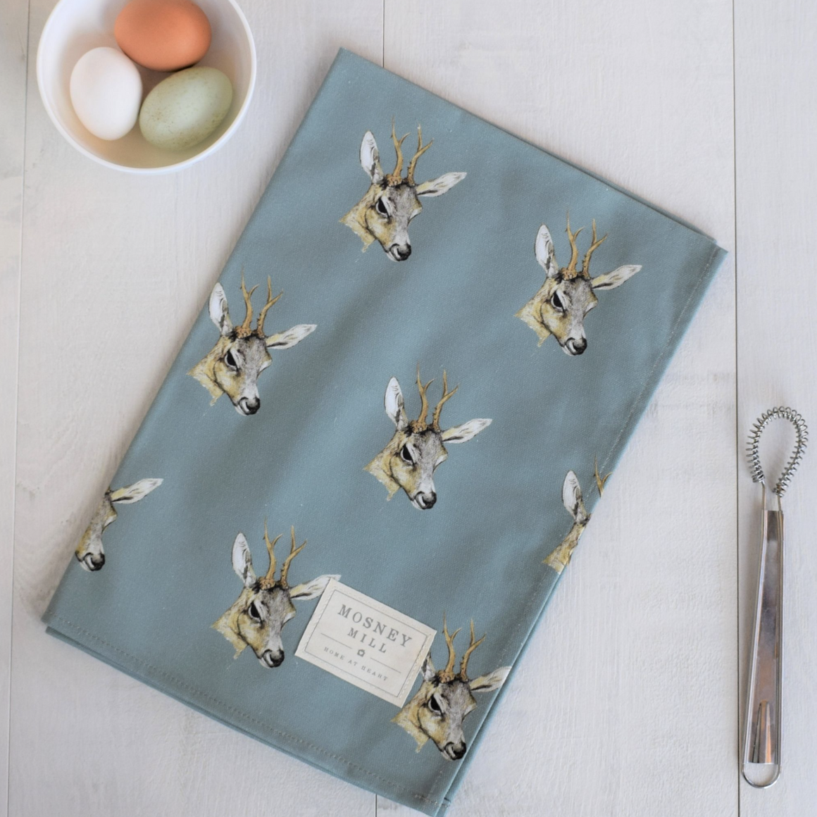 DEER TEA TOWEL - TEAL