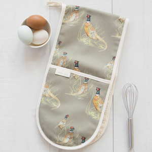 PHEASANT DOUBLE OVEN GLOVES - SAGE GREEN
