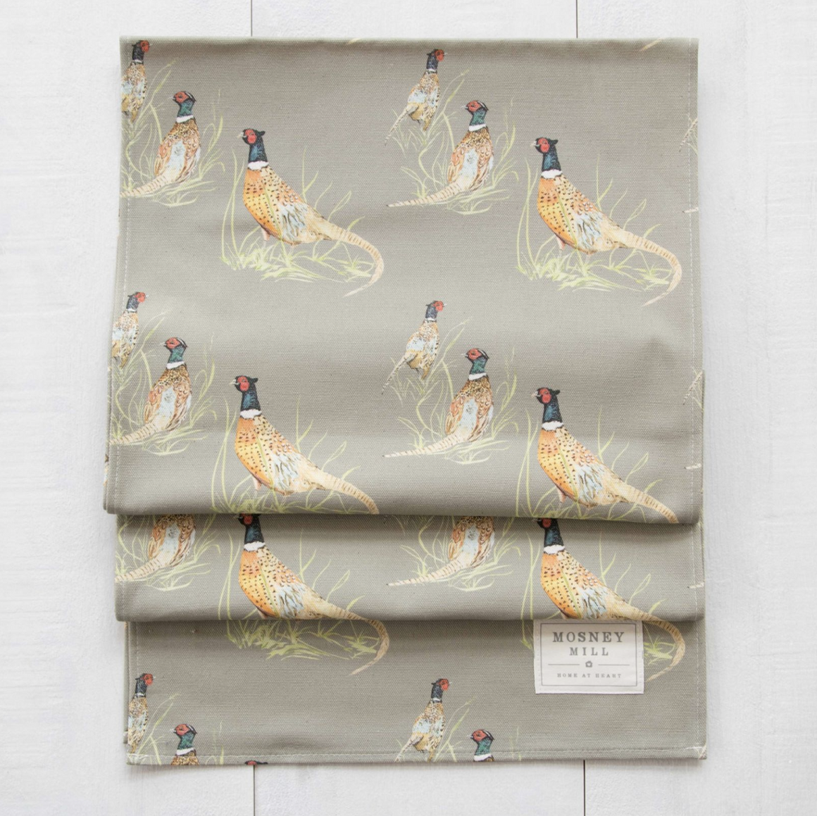 PHEASANT TABLE RUNNER - SAGE GREEN