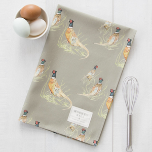 PHEASANT TEA TOWEL - SAGE GREEN