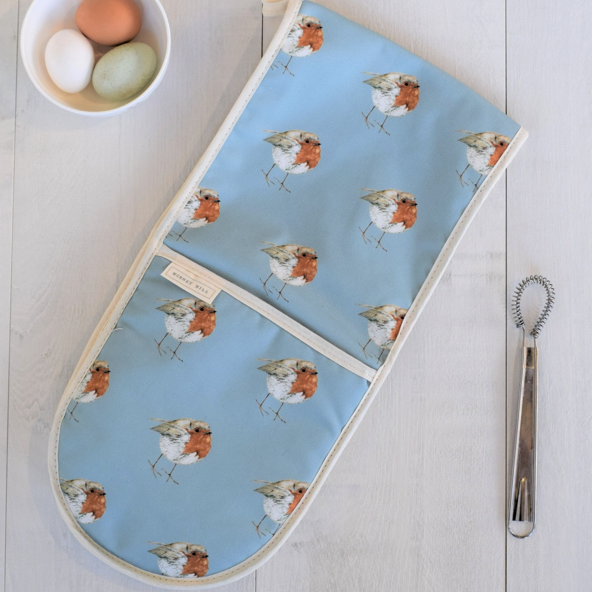 ROBIN DOUBLE OVEN GLOVES - BLUE