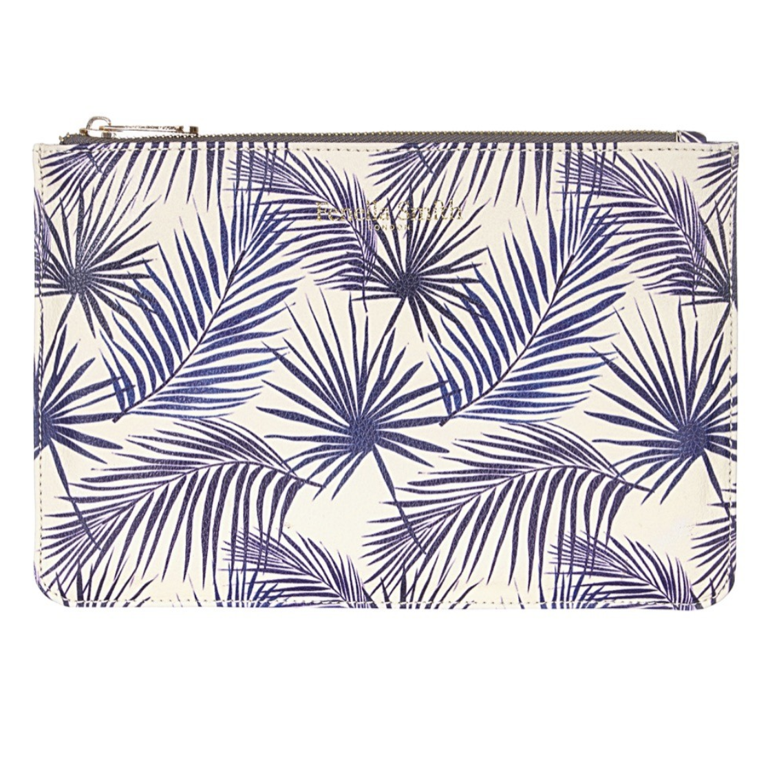 DESIGNER BLUE PALM VEGAN CLUTCH BAG